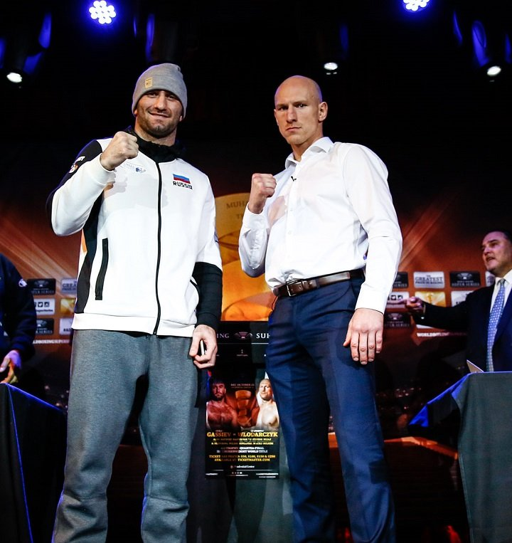 Krzysztof Wlodarczyk, Murat Gassiev - IBF Champion Murat Gassiev and former champion Krzysztof Wlodarczyk went face-to-face Thursday at the final press conference before they enter the ring this Saturday, October 21 in World Boxing Super Series cruiserweight quarter-final action from Prudential Center in Newark, N.J. live on AUDIENCE Network. (Photo: Stephanie Trapp/Ringstar Sports)