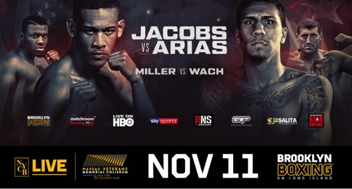 "Luis Arias - The off-TV stacked undercard has officially been set for the Saturday, Nov. 11 showdown between Daniel ""Miracle Man"" Jacobs and undefeated Luis Arias at NYCB LIVE, home of the Nassau Veterans Memorial Coliseum and televised live on HBO World Championship Boxing beginning at 10:00 p.m. ET/PT."