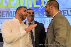 Billy Joe Saunders, David Lemieux - There was a lot of hostility in the air today, while the WBO World Middleweight Champion Billy Joe Saunders (25-0, 12 KOs) and former IBF World Middleweight Champion David Lemieux (38-3, 33 KOs) were hosting a press conference to discuss their upcoming showdown to be held on Dec. 16 at the Place Bell in Laval, Quebec. Saunders vs. Lemieux is presented by Golden Boy Promotions and Eye of the Tiger Management, in association with Frank Warren, and will be televised live on HBO World Championship beginning at 9:40 p.m. ET/PT.