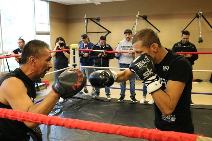 "Jesus Soto Karass - Jesus ""Renuente"" Soto Karass (28-12-4, 18 KOs) hosted a media workout today at the Pascua Yaqui Wellness Center in Tucson, Arizona ahead of his 10-round welterweight fight against Juan Carlos ""Merengue"" Abreu (19-3-1, 18 KOs) in the main event of the Nov. 2 edition of Golden Boy Boxing on ESPN at Casino Del Sol in Tucson, Arizona. Ryan ""Kingry"" Garcia (11-0, 10 KOs), who will compete in the co-main event in the first defense of his Junior NABF Super Featherweight title against Cesar Valenzuela (14-5-1, 5 KOs), also participated in today's event. Cesar Diaz (6-0, 5 KOs), the bantamweight prospect who will return in a six-round fight, and Christopher Gonzalez, the 140-pound prospect who will make his professional debut, took part as well."