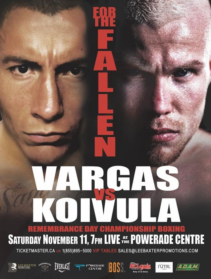 Samuel Vargas - Though Samuel Vargas and Jussi Koivula will square off in the main event on November 11, the undercard at the Brampton Powerade Centre that night will feature headline-caliber talent.