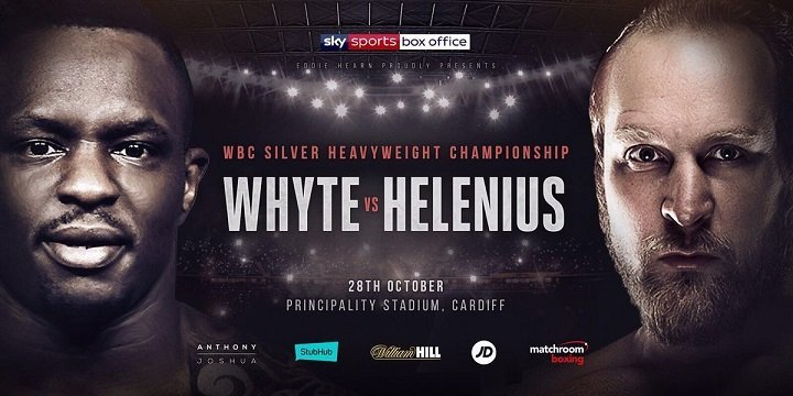 Robert Helenius - Dillian Whyte says he's going to make life hell for Robert Helenius when they clash for the WBC Silver Heavyweight title at Principality Stadium in Cardiff on Saturday night, live on Sky Sports Box Office. Whyte wants to secure a showdown with WBC king Deontay Wilder in 2018 and knows that an impressive win over Helenius will take him a giant step towards that goal.