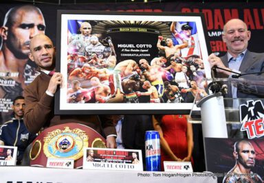 """Miguel Cotto, Sadam Ali - Four division world champion Miguel Cotto (41-5, 33 KOs) and current WBA International Welterweight Champion Sadam """"World Kid"""" Ali (25-1, 14 KOs) today hosted the final press conference for their WBO World Junior Middleweight Championship fight, which takes place Saturday, Dec. 2 at the World's Most Famous Arena, Madison Square Garden, and will be televised live on HBO World Championship Boxing beginning at 10:00 p.m. ET/PT."""