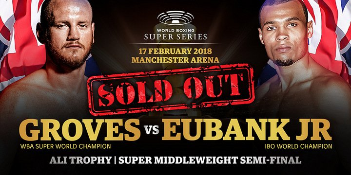 Chris Eubank Jr, George Groves - It took seven minutes to sell out the Ali Trophy semi-final bout between WBA Super World Champion George Groves (27-3, 20 KOs) and IBO-Champ Chris Eubank Jr. (26-1,20 KOs) at the Manchester Arena on February 17, 2018. Europe's largest purpose-built indoor arena will be at capacity to witness what promises to be the biggest Super Middleweight night in years.