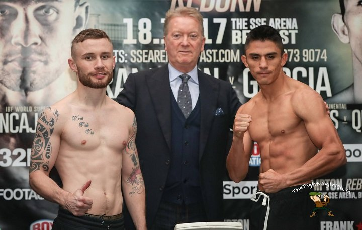 Horacio Garcia - Carl Frampton and Horacio Garcia have weighed in ahead of their headline clash at the SSE Odyssey Arena on Saturday night, while Jamie Conlan and Jerwin Ancajas are all set for their IBF world super-flyweight title showdown. All four fighters took to the scales at Belfast's Clayton Hotel on Friday afternoon ahead of the weekend's massive 'Frampton Reborn' fight card, which will be screened live on BT Sport and BoxNation.