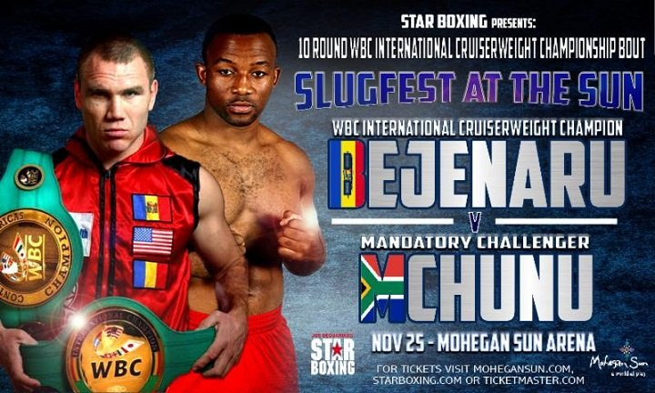 "Thabiso Mchunu - This Saturday, Joe DeGuardia's Star Boxing brings two WBC championship fights to Mohegan Sun. The main event features current undefeated, WBC International and Continental Americas Cruiserweight Champion, CONSTANTIN BEJENARU (12-0 3KOs) against former world title challenger and #1 mandatory challenger, THABISO ""The Rock"" MCHUNU (18-3 11KOs) of South Africa."