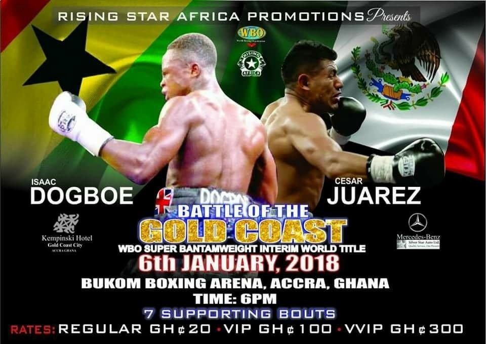 Cesar Juarez - Ghana's undefeated WBO International super bantamweight champ, Isaac 'Royal Storm' Dogboe (17-0, 11 KOs) arrived back in Ghana on Thursday night with a declaration of war on his next opponent, Cesar Juarez of Mexico (20-5, 15 KOs) ahead of their fight for the WBO interim world super bantamweight strap in Accra on January 6, 2018.