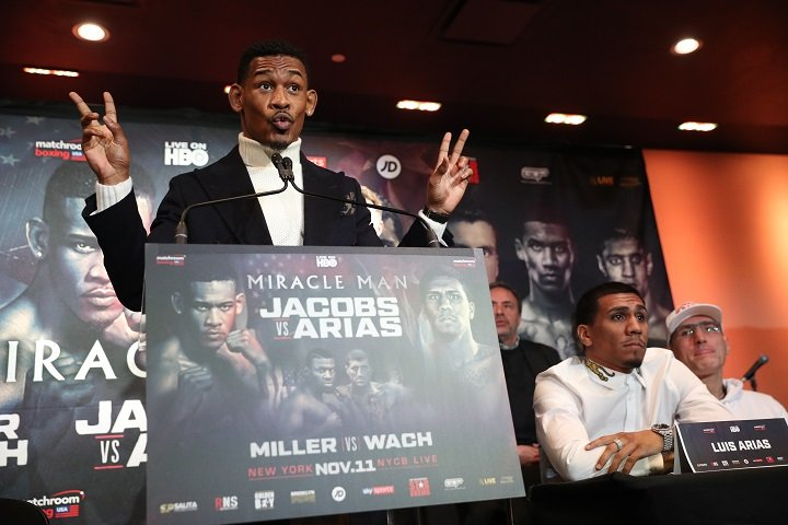 Luis Arias - Thursday's final press conference for the Danny Jacobs vs. Luis Arias fight took place at PlayStation Theater at Times Square in Manhattan.Friday's weigh-in takes place at NYCB LIVE Home of the Nassau Veterans Memorial Coliseum at 1 pm. (Photo Credit Ed Mulholland/Matchroom)