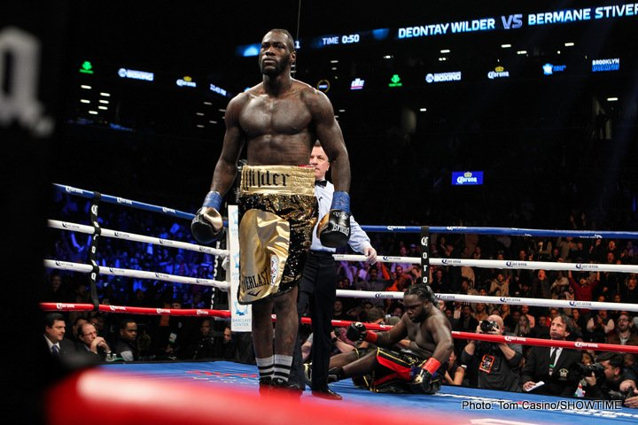 "Anthony Joshua, Deontay Wilder - Well, Deontay Wilder sure made Bermane Stivere eat his words last night in their basically pointless return fight. Ahead of the rematch, former WBC champ Stiverne boldly stated how ""No-one ever knocks me out. It isn't gonna happen."""