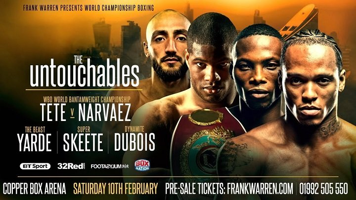 Anthony Yarde, Bradley Skeete, Daniel Dubois, Zolani Tete - Four of the most avoided fighters in the United Kingdom return to action on Frank Warren's first card of 2018 at London's Copper Box Arena on Saturday 10th February, live on BT Sport and BoxNation.