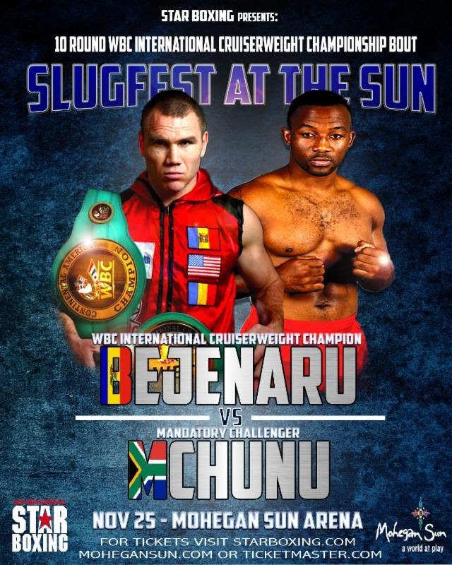 Thabiso Mchunu - JOE DEGUARDIA'S STAR BOXING is pleased to announce that if you were unable to attend the November 25th, SLUGFEST at the SUN, live from Mohegan Sun, you will be able to watch it on tape-delay, airing on NESN (New England Sports Network) Sunday, December 3rd at 8:00 PM ET.