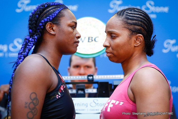 Tori Nelson - Unified Women's Super Middleweight World Champion Claressa Shields and undefeated IBF mandatory challenger Tori Nelson made weight on Thursday for their 10-round WBC and IBF Super Middleweight World Championship showdown tomorrow/Friday, January 12 in the main event of ShoBox: The New Generation live on SHOWTIME (10 p.m. ET/PT) from Turning Stone Resort Casino in Verona, N.Y.