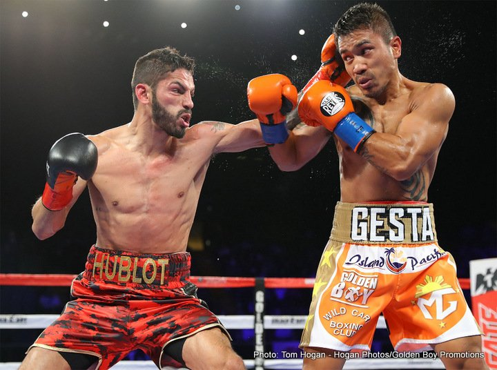 Mercito Gesta - WBA World lightweight champion Jorge Linares (44-3, 27 KOs) had a harder time than expected in defeating #15 WBA Mercito Gesta (31-2-2, 17 KOs) by a 12 round unanimous decision in a stay busy fight at The Forum in Inglewood, California. The scores were 118-110, 117-110 and 118-110.