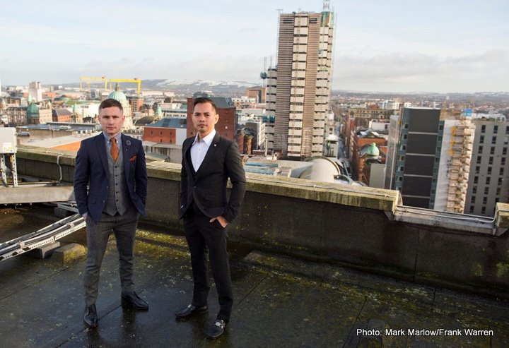 Carl Frampton, Conrad Cummings, Jono Carroll, Nonito Donaire - Carl Frampton and Nonito Donaire came face to face in Belfast ahead of their April 21 blockbuster bout at the SSE Odyssey Arena