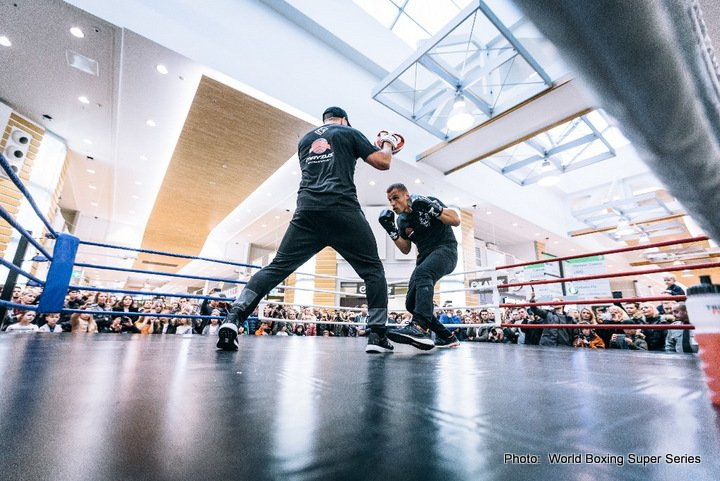 Aleksandr Usyk, Mairis Briedis - WBO-Champion Aleksandr Usyk and WBC-Champion Mairis Briedis entertained the masses at an open training before their Ali Trophy semi-final clash on Saturday at the Arena Riga, Latvia.