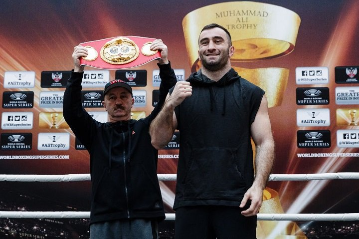 "Yuniel Dorticos - IBF World Champion Murat Gassiev (25-0, 18 KOs) and WBA World Champion Yunier Dorticos (22-0, 21 KOs) entertained a big crowd at the public workout in Sochi before the Ali Trophy semi-final on Saturday at the Bolshoy Ice Dome. ""It was great to feel the support of so many people. The fans are really excited about this fight,"" said Gassiev."