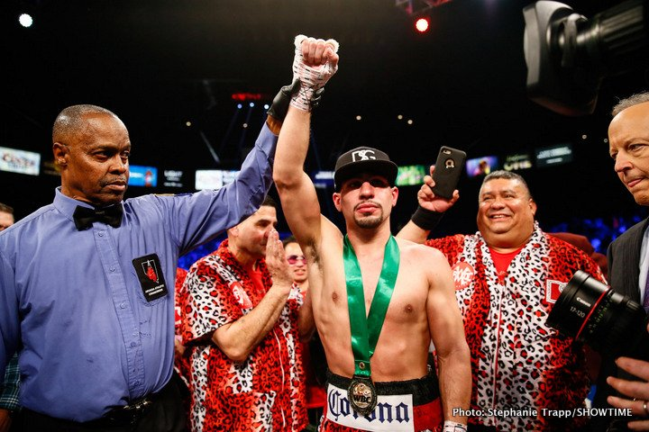 Brandon Rios - In a predictable outcome, former 2 division world champion Danny 'Swift' Garcia (34-1, 20 KOs) stopped a very slow and faded former WBA lightweight champion Brandon 'Bam Bam' Rios (34-4-1, 25 KOs) in a 9th round knockout at the Mandalay Bay in Las Vegas, Nevada. Garcia, 29, landed a right hand to the head of Rios in the 9th that put him down flat on his back.