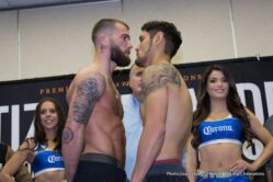 Caleb Plant, Devon Alexander, Victor Ortiz - Former world champions Victor Ortiz and Devon Alexander went face to face Thursday two days before they enter the ring for their Premier Boxing Champions on FOX and FOX Deportes main event showdown this Saturday, February 17 from Don Haskins Center on the UTEP campus in El Paso, Texas.