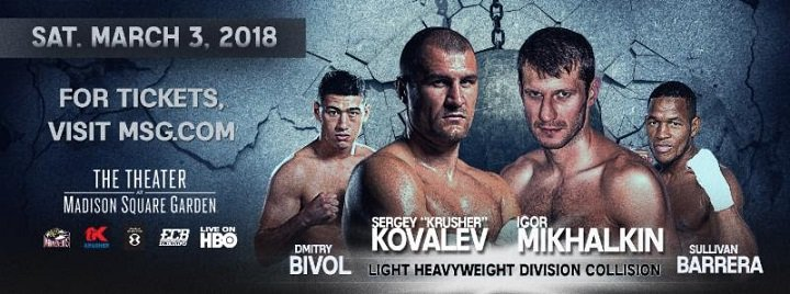 Kovalev vs. Mikhalkin and Bivol vs Barrera quotes for 3/3 on HBO