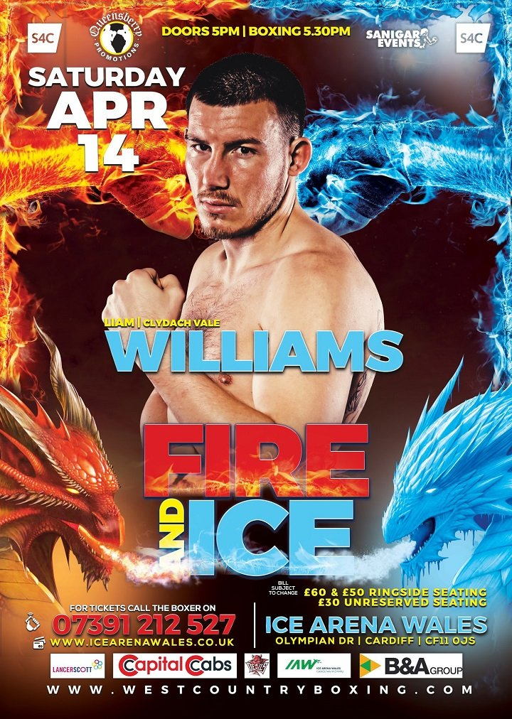 Liam Williams - Sanigar Events and Queensbury Promotions are proud to announce that former British and Commonwealth Super Welterweight Champion Liam Williams has been added to the huge night of championship boxing at the Ice Arena Wales, Cardiff on April 14th live on S4C. Liam returns to Wales after seventeen months following massive back to back clashes with domestic rival Liam Smith. The popular fighter from Clydach Vale will box for the second time at the Ice Arena Wales, last time scoring a TKO against unbeaten Gary Corcoran in arguably the best win of his career. Williams will box in an 8 round contest against an opponent to be named shortly.