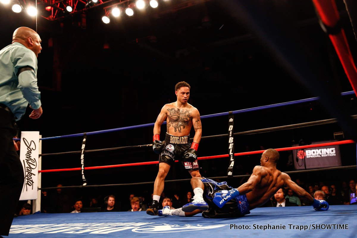 Julius Indongo - Undefeated 140-pound contender Regis Prograis scored a sensational second-round knockout over former unified world champion Julius Indongo to capture the Interim WBC Super Lightweight title Friday night on SHOWTIME BOXING: SPECIAL EDITION from Deadwood Mountain Grand in Deadwood, S.D.