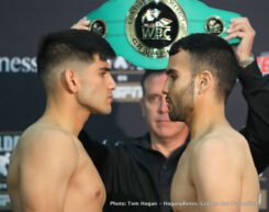 """Azat Hovhannisyan, Ronny Rios - Local hometown hero and former world title challenger Ronny Rios (29-2, 13 KOs) and explosive Armenian contender Azat """"Crazy A"""" Hovhannisyan (13-2, 10 KOs) hosted a media workout at TKO Boxing Club in Santa Ana, CA ahead of their 10-round super bantamweight clash on the March 9 edition of Golden Boy Boxing on ESPN at the Hangar at the OC Fair & Event Center in Costa Mesa, Calif."""