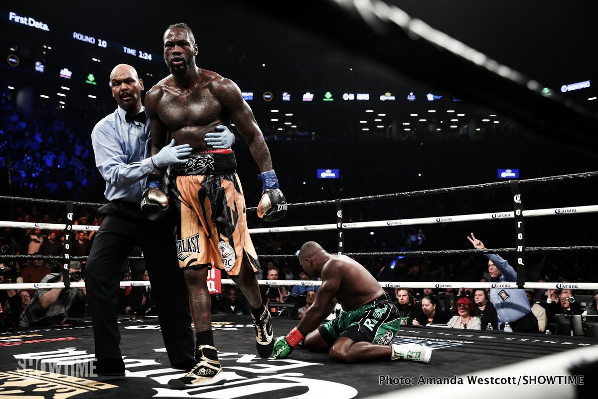 Deontay Wilder - Deontay Wilder is still understandably angry due to the manner in which his huge unification fight with rival heavyweight champion Anthony Joshua has (for the time being) fallen apart. Wilder, speaking with RingTV.com, says that if negotiations are to resume (and as big as this fight is, it would be extremely unlikely if the respective sides did not get together, sort of, and try again) he must be paid a straight 50 percent share of the fight purse.