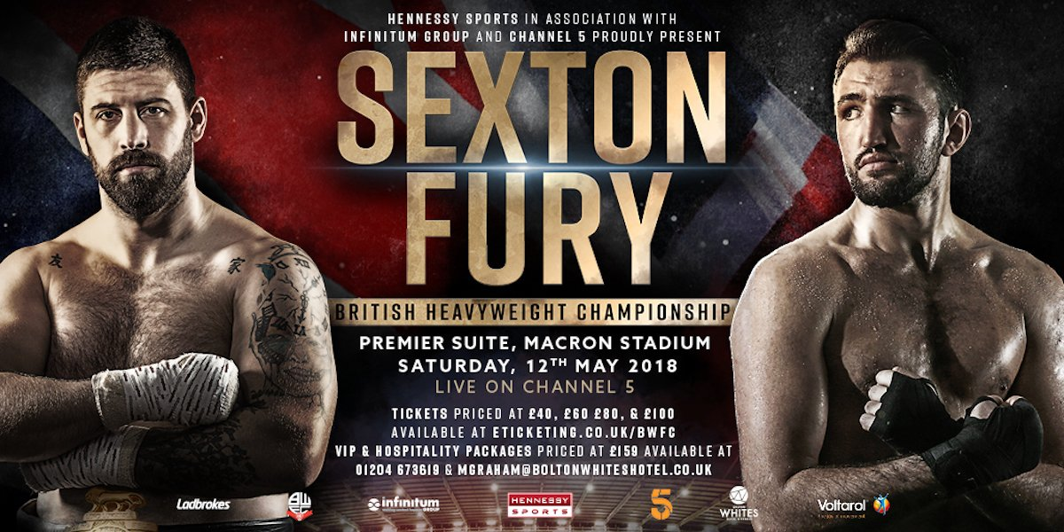 Hughie Fury, Sam Sexton -  Hughie Fury is hungrier than ever to become a World Champion and he starts on the road back against British Champion Sam Sexton on Saturday 12th May at the Macron Stadium, Premier Suite, in Bolton, exclusively live on Channel 5.