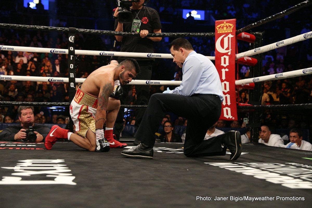 Gervonta Davis, Jesus Cuellar - Gervonta Davis became a two-time world champion in empathic fashion with a third round TKO of former champion Jesus Cuellar to capture the vacant WBA 130-pound World Championship.
