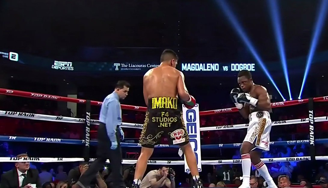 Isaac Dogboe, Jessie Magdaleno - WBO interim super bantamweight champion Isaac Dogboe (19-0, 13 KOs) overcame a bad start to come on strong to stop WBO 122 lb. champion Isaac Magdaleno (25-1, 18 KOs) in the 11th round on Saturday night on ESPN at the Liacouras Center in Philadelphia, PA.