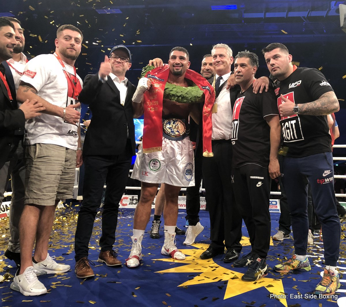 EBU heavyweight champion Agit Kabayel (18-0, 13 KOs) successfully defended his title for the second time in stopping an over-matched 24-year-old Miljan Rovcanin (19-2, 13 KOs) in the 3rd round on Saturday night in front of 3300 boxing fans at the the Estrel Convention Center, Neukoelln, Berlin, Germany.