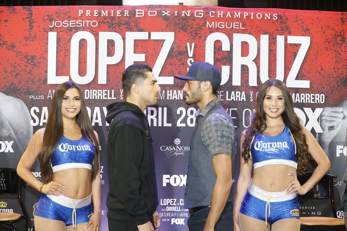 """Josesito """"Riverside Rocky"""" Lopez - Rugged veteran Josesito Lopez and unbeaten Miguel Cruz faced-off Thursday and discussed their upcoming showdown Saturday, April 28 as part of Premier Boxing Champions on FOX and FOX Deportes from Don Haskins Center in El Paso, Texas."""