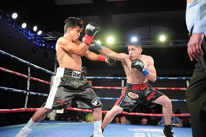 Giovani Santillan - Giovani Santillan (24-0, 14 KOs) made a compelling case for a world title shot opportunity by knocking out Alejandro Barboza (11-2, 7 KOs) in the second round Friday night from the Doubletree Hotel in Ontario, Calif.