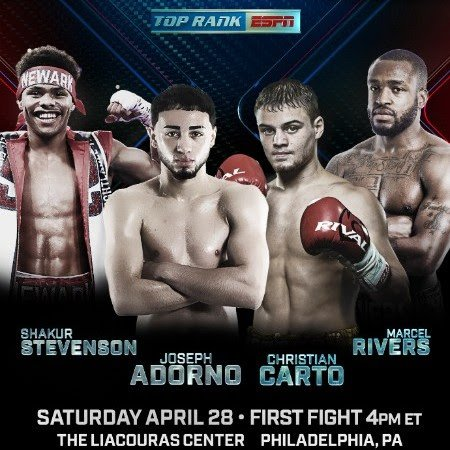 Shakur Stevenson and Robson Conceicao both fight on 4/28