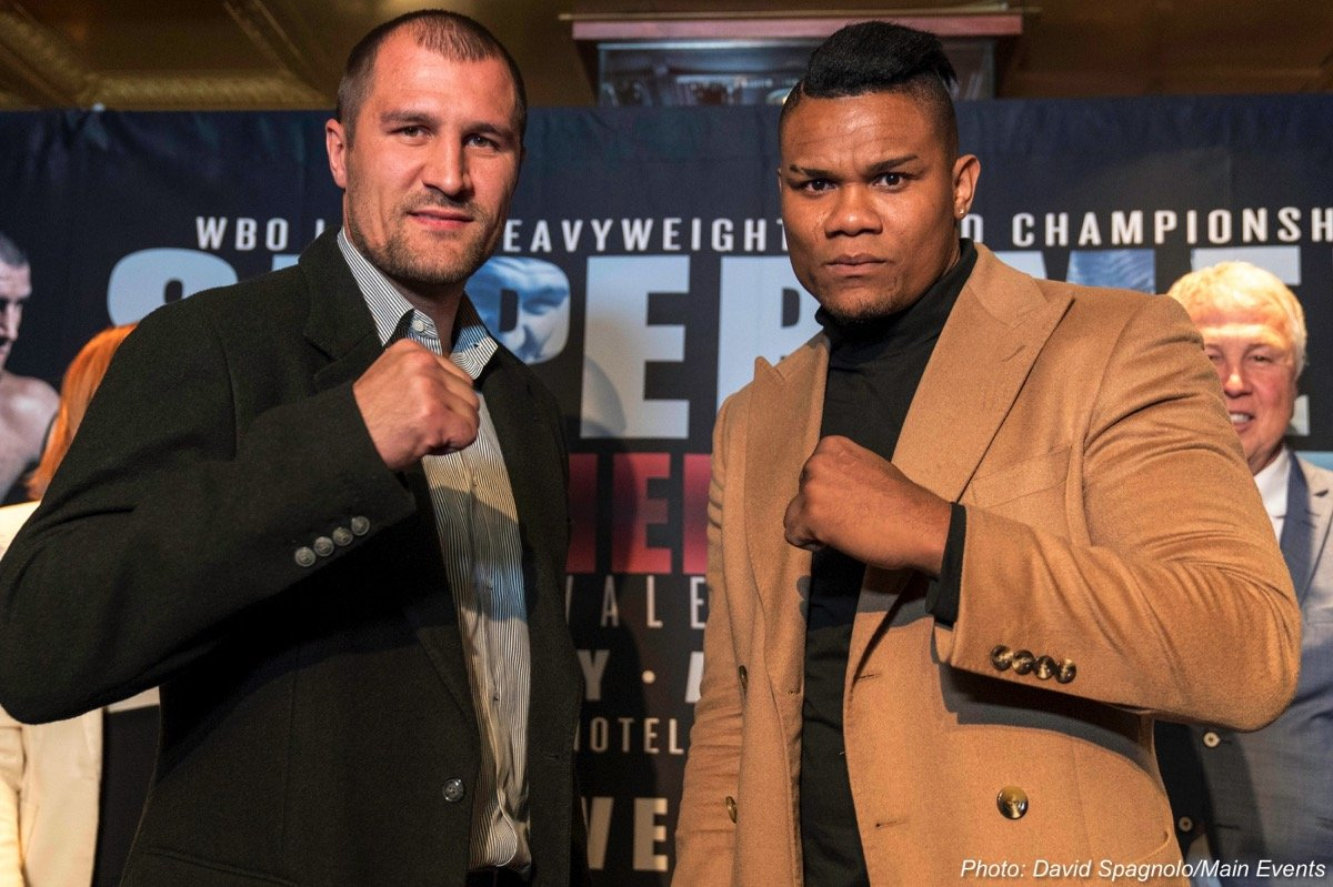 "Eleider ""Storm"" Alvarez, Sergey Kovalev - WBO Light Heavyweight World Champion Sergey ""Krusher"" Kovalev (32-2-1, 28 KOs) and Eleider ""Storm"" Alvarez (23-0, 11 KOs) addressed the media at Hard Rock Café in Times Square to officially announce their upcoming ""Super Men"" showdown at the brand new Hard Rock Hotel & Casino Atlantic City, on Saturday, August 4 televised live on HBO World Championship Boxing®."