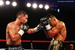 Devin Haney, Mason Menard - Blue chip lightweight prospect Devin Haney rose to the occasion in what was the toughest test of his career, defeating veteran Mason Menard via ninth-round TKO in the main event of ShoBox: The New Generation Friday on SHOWTIME from 2300 Arena in Philadelphia.