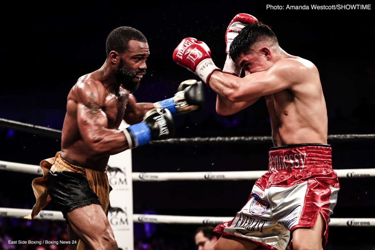 In the main event from MGM National Harbor in Maryland, it was a tactical and hard fought battle of two former U.S. Olympians as Russell Jr. (29-1, 17 KOs) defeated Diaz Jr. (26-1, 14 KOs).  Russell won the contest via unanimous decision, 115-113 and 117-111 twice, to retain his WBC featherweight world title. The 29-year-old hometown favorite used his hand speed, quickness and relentless attack to overwhelm Diaz Jr., the previously undefeated top-ranked contender.