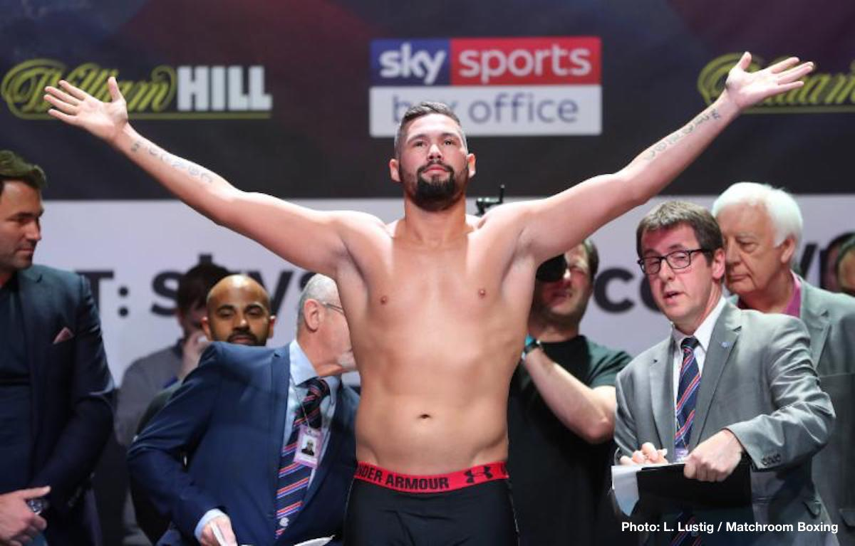 Anthony Joshua - Former WBC cruiserweight champ/heavyweight contender turned pundit Tony Bellew picks Anthony Joshua to beat Tyson Fury if and when the super-fight takes place, with Bellew adding a caveat to his prediction: AJ has to do it inside six rounds. And Bellew makes his prediction based partly on the vicious combination punching Joshua is capable of.