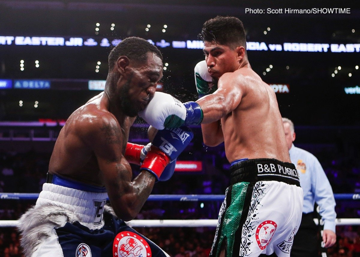 Robert Easter Jr. - WBC 135 pound champion Mikey Garcia (39-0, 30 KOs) was forced to go the distance in defeating International Boxing Federation lightweight champion Robert Easter Jr. (21-1, 14 KOs) by a 12 round unanimous decision on Saturday night in their unification match to become a two-belt holder at the Staples Center in Los Angeles, California.