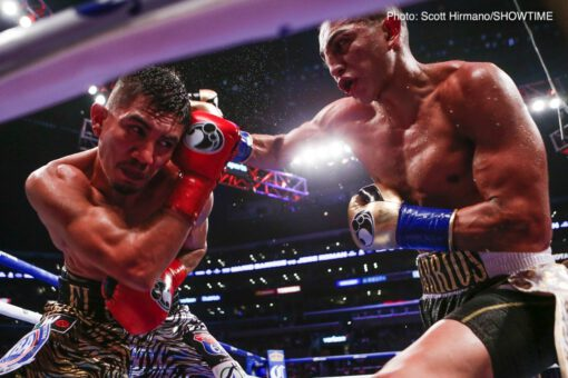 Luis Ortiz, Mario Barrios - Heavyweight southpaw Luis Ortiz (29-1, 25 KOs) returned to the ring with a resounding victory, scoring a devastating second round knockout (2:08) of former world title challenger Razvan Cojanu (16-4, 9 KOs)