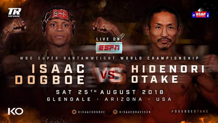 Isaac Dogboe, Ray Beltran - The countdown to Isaac 'Royal Storm' Dogboe's first WBO junior featherweight title defence against Hidenori Otake of Japan is officially on after Top Rank Promotions announced on Monday that tickets for the bout scheduled for the Gila River Arena in Glendale, Arizona, USA on August 25 will begin selling this Thursday.