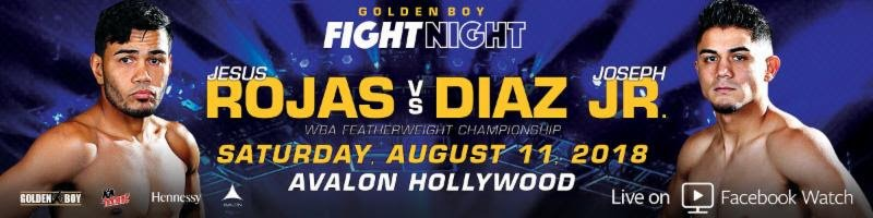 "Joseph Diaz Jr - The inaugural edition of Golden Boy Fight Night on Facebook Watch promises even more fireworks as Damon ""No Smilin'"" Allen Jr. (15-0-1, 5 KOs) and Jonathan ""Thunder"" Navarro (14-0, 7 KOs) face off in a highly competitive battle between two undefeated Golden Boy Promotions prospects in the co-main event of Diaz Jr. vs. Rojas at Avalon Hollywood. The action will be streamed live on Saturday, August 11 beginning at 9:00 p.m. ET/6:00 p.m. PT. Fans can catch all the fights by clicking here."