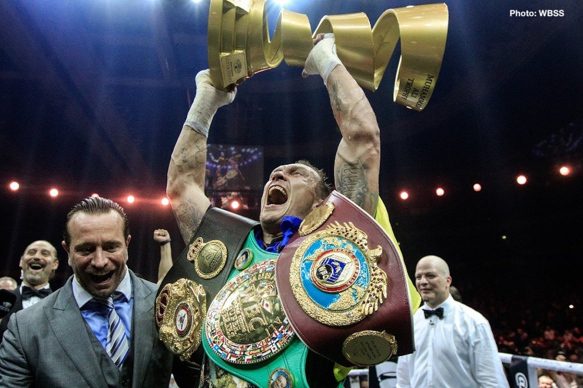 Alexander Usyk, Murat Gassiev - Ukrainian boxer Oleksandr Usyk (15-0, 11 Kos) wrote history tonight at the Olympic Stadium in Moscow as he unified all four major world titles in his division and became the winner of the first season of the World Boxing Super Series cruiserweight tournament and thus the first recipient of the Muhammed Ali trophy. He used relentless pressure against heavy-handed Murat Gassiev (26-1, 19 Kos) to smother the dangerous Russian and never gave his opponent a chance to implement his game plan.