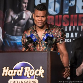 """Dmitry Bivol, Eleider """"Storm"""" Alvarez, Isaac Chilemba, Sergey Kovalev - Kathy Duva, CEO of Main Events - """"Oh, if these walls could talk! There are so many stories. If I got started, we'd never hear from anyone today. Main Events could not be happier to be bringing world championship boxing back to Atlantic City. We hope it's a long, enjoyable stay."""