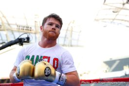 """Gennady Golovkin, Saul """"Canelo"""" Alvarez - Lineal Middleweight World Champion Canelo Alvarez (49-1-2, 34 KOs) and WBC, WBA and IBO Middleweight Champion Gennady """"GGG"""" Golovkin (38-0-1, 34 KOs) hosted a Los Angeles media workout in front of thousands of fans at the new Banc of California Stadium ahead of their historic rematch. The fight will take place Saturday, Sept. 15 at T-Mobile Arena in Las Vegas and will be produced and distributed live by HBO Pay-Per-View beginning at a special time of 8:00 p.m. ET/5:00 p.m. PT."""