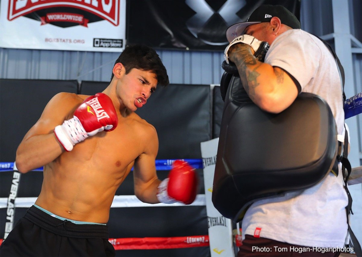 "Carlos Morales, Ryan Garcia - NABF and NABO Super Featherweight champion Ryan ""Kingry""Garcia (15-0, 13 KOs) and NABA Super Featherweight Champion Carlos ""The Solution"" Morales (17-2-3, 6 KOs) hosted a media workout at Legendz Boxing in Norwalk, Calif. on Monday, Aug. 27 ahead of their 10-round non-title fight. The two also participated in a media tour at ESPN, including a visit on the TV show A Los Golpes along with Mexican legend Julio Cesar Chavez Sr. Their battle, which will be held in the lightweight division, will be the main event of the Sept. 1 edition of Golden Boy Fight Night at Fantasy Springs Resort Casino in Indio, Calif. The action will be streamed live on Facebook Watch in the U.S. and globally on the Golden Boy Fight Night Page."