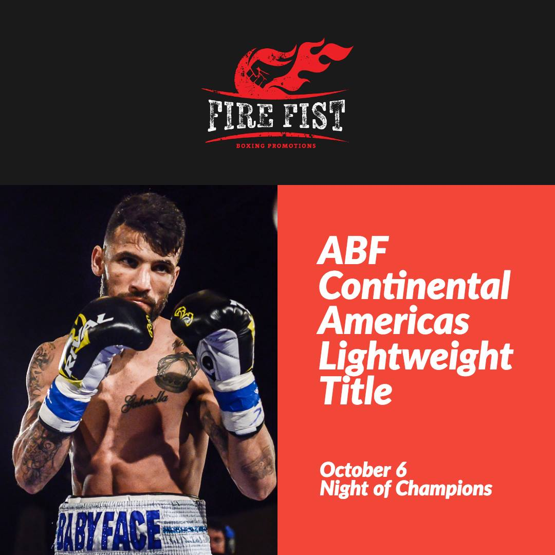 "- Lightweight William ""Babyface"" Silva returns to the ring Saturday, October 6 when he meets hard-hitting Jose Forero in a ten round contest headlining Fire Fist Boxing Promotions' ""Night of Champions"" at the St. Petersburg Coliseum in St. Petersburg, FL."