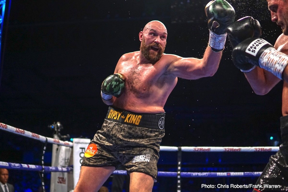 Deontay Wilder, Francesco Pianeta, Luke Jackson, Tyson Fury - Tyson Fury (27-0, 19 KOs) stayed unbeaten with an easy 10 round decision win over Francesco Pianeta (35-5-1, 21 KOs) on Saturday night in his second fight of his comeback at Windsor Park in Belfast, Northern Ireland.