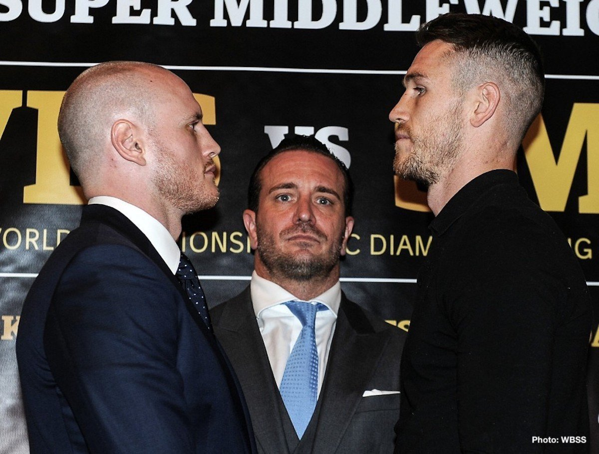 Callum Smith, George Groves - WBA Super World Champion George Groves (28-3, 20 KOs) and Callum Smith (24-0, 17 KOs) met Friday at a press conference in London ahead of their hotly anticipated Ali Trophy Super Middleweight Final on Friday 28 September at the Indoor Sports Hall in Jeddah, Saudi Arabia.