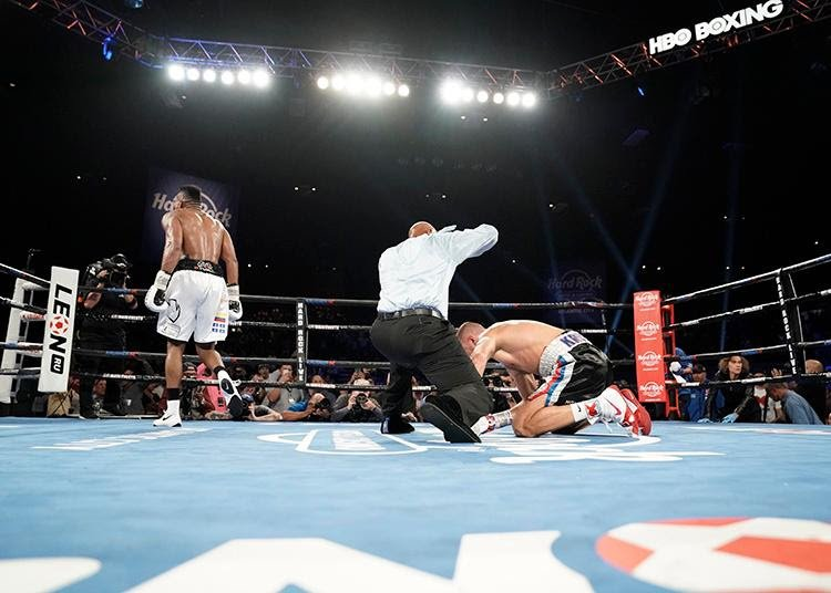 "Isaac Chilemba - In a stunning turnaround, Eleider Alvarez (24-0, 12 KOs) of Montreal, Canada scored a seventh round knockout victory over Sergey ""Krusher"" Kovalev (32-3-1, 28 KOs) of Russia before a sellout crowd of 5,642 fans at the Hard Rock Hotel & Casino's Etess Arena. Alvarez now becomes the WBO and IBA World Light Heavyweight Champion."